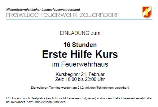 freiwillige feuerwehr zellerndorf | erste hilfe kurs, Einladung
